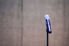 Stand and microphone on a festival stage stock image