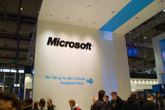 Stand of the Microsoft in CEBIT computer expo. HANNOVER, GERMANY - MARCH 5: stand of the Microsoft on March 5, 2011 in CEBIT computer expo, Hannover, Germany Stock Photography