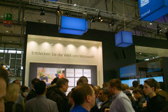 Stand of the Microsoft in CEBIT computer expo. HANNOVER, GERMANY - MARCH 5: stand of the Microsoft on March 5, 2011 in CEBIT computer expo, Hannover, Germany Stock Image