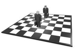 Stand mit zwei Geschäftsmännern auf dem Schachbrett Stockbild