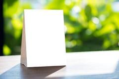 Free Stand  Mock Up Menu Frame  Tent Card  Blurred Background  Design Stock Photo - 111361080