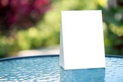 Stand  Mock up Menu frame  tent card  blurred background  design Stock Photos