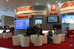 Stand of the Moscow city in CEBIT computer expo. HANNOVER, GERMANY - MARCH 10: stand of the Moscow city on March 10, 2012 in CEBIT computer expo, Hannover Stock Photos