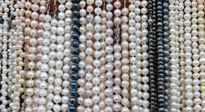 Stand with necklaces of pearls Royalty Free Stock Photography