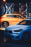 Stand new bmw x2 at the show stock photos