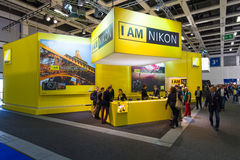 Stand of Nikon. BERLIN - SEPTEMBER 04, 2015: Stand of Nikon. International radio exhibition Berlin (IFA2015 Royalty Free Stock Image