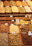 A stand with nuts in fruit market Stock Images