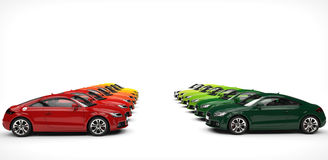 Stand off of many automobiles. Shot on white background Stock Photography