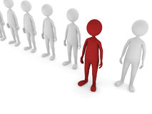 Stand out. 3D men representing standing out or being different concept Royalty Free Stock Image