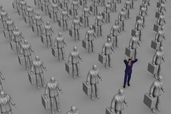 Stand Out!. Computer generated image with many identical grey business men and one life-like one. The rendering of this image is very fine, high quality Vector Illustration