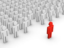 Stand out. Red 3d man standing out from the crowd Royalty Free Stock Photo
