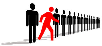 Stand Out. Red Man Standing Out In A Line Of Black Men vector illustration