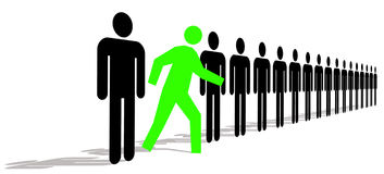 Stand Out. Green Man Standing Out In A Line Of Black Men vector illustration