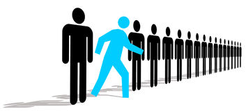 Stand Out. Blue Man Standing Out In A Line Of Black Men Royalty Free Stock Photos