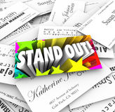 Stand Out Business Card Pile Be Unique Special Different Royalty Free Stock Photography