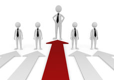 Stand out in business team. 3D concept depicting leader in a team, successful in economy or business area Stock Photos