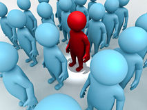 Stand Out From The Crowd. Red 3d man stand out from the crowd vector illustration