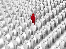Stand Out From The Crowd. 3d red man stand out from the crowd Stock Image