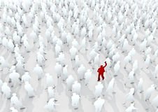 Stand out from the crowd. 2D crowd of people rendered in 3D with single red figure waving Stock Photography