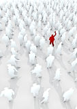 Stand out from the crowd. 2D crowd of people rendered in 3D with single red figure waving Stock Images