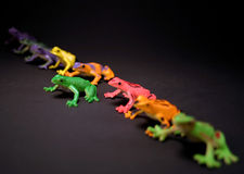 Stand Out From The Crowd. Toy frogs in a line.  Selective depth, and postion make the green frog stand out from the rest Royalty Free Stock Photo