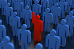 Stand out from the crowd. 3d people volunteer with arm up Royalty Free Stock Photos