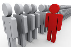 Stand out of crowd. 3d illustration of unique red man out of people line. Conecpt of standing out from crowd Stock Images