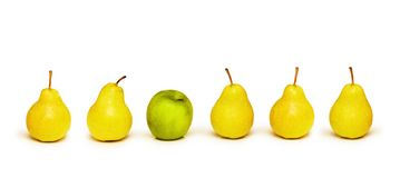 Stand out from crowd. With apple and pears Stock Photography