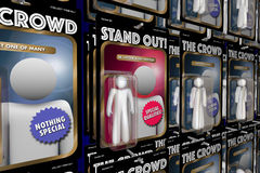 Stand Out from Crowd Action Figure People Advantage. 3d Illustration Royalty Free Stock Photo