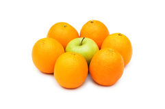 Stand out from crowd with apple. And oranges Stock Photography