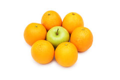 Stand out from crowd with apple and oranges. Stand out from crowd  with apple and oranges Royalty Free Stock Image