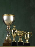 Stand out from the crowd. Big trophy stand out from the others Royalty Free Stock Image