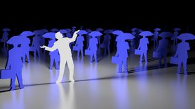 Stand out from the crowd business man. White glowing businessman with open arms standing out from a blue crows with umbrellas 3D illustration individuality Stock Photography