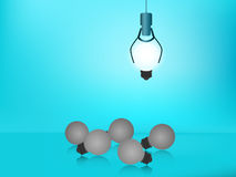 Stand out from the crowd. Choose outstanding glowing light bulb. Business success concept. Uniqueness, leadership, independence, initiative, strategy, dissent Royalty Free Stock Photos