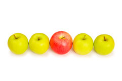 Stand out from crowd concept. With apples isolated on white Royalty Free Stock Image