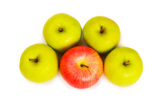 Stand out from crowd concept. With apples isolated on white Royalty Free Stock Photo