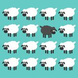 Stand out from the crowd concept. Black sheep between white sheep  illustration. Royalty Free Stock Photos