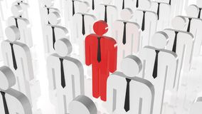 Stand out from crowd concept. Red man icon in middle of white man icons. Be different searching job.  Stock Image