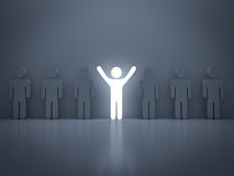 Stand out from the crowd and different concep. T , Light man standing with arms wide open with other people Royalty Free Stock Photos