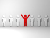 Stand out from the crowd and different concept. One red man standing with arms wide open with other white people Royalty Free Stock Images
