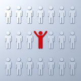 Stand out from the crowd and different concept. One red man standing with arms wide open with other white people Stock Photo