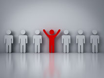 Stand out from the crowd or different concept , Red man standing with arms wide open in group Stock Image