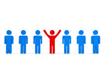 Stand out from the crowd and different concept. Red man standing with arms wide open with other blue people over white background Stock Photo