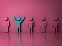 Stand out from the crowd and different creative idea concepts. One green man standing with arms wide open among other people on pink background with Royalty Free Stock Photography