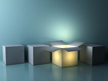 Stand out from the crowd , different creative idea concepts , One luminous opened box glowing Royalty Free Stock Photo