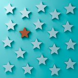 One red star standing among other white stars on dark blue green pastel color background. Stand out from the crowd and different creative idea concepts One red royalty free illustration