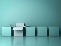 Stand out from the crowd and different creative idea concepts , One white open box Royalty Free Stock Photos