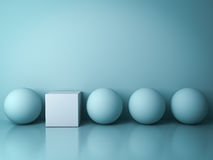 Stand out from the crowd and different creative idea concepts , One white square box standing among green spheres Royalty Free Stock Photo