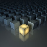 Stand out from the crowd , Different creative idea , Leadership concepts. One glowing yellow light cube among dim cubes on dark grey background with Stock Image