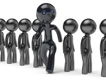 Stand out from crowd different people man character black. Stand out from crowd different people man giant character black think differ unique person otherwise Royalty Free Stock Photo